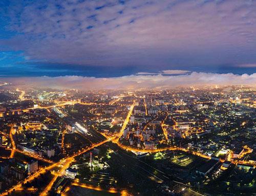Ночная Москва с высоты полета вертолёта