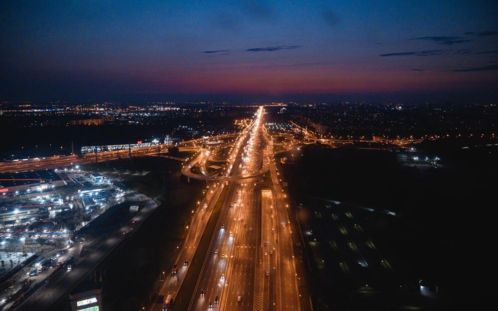 Ночной МКАД из кабины вертолёта
