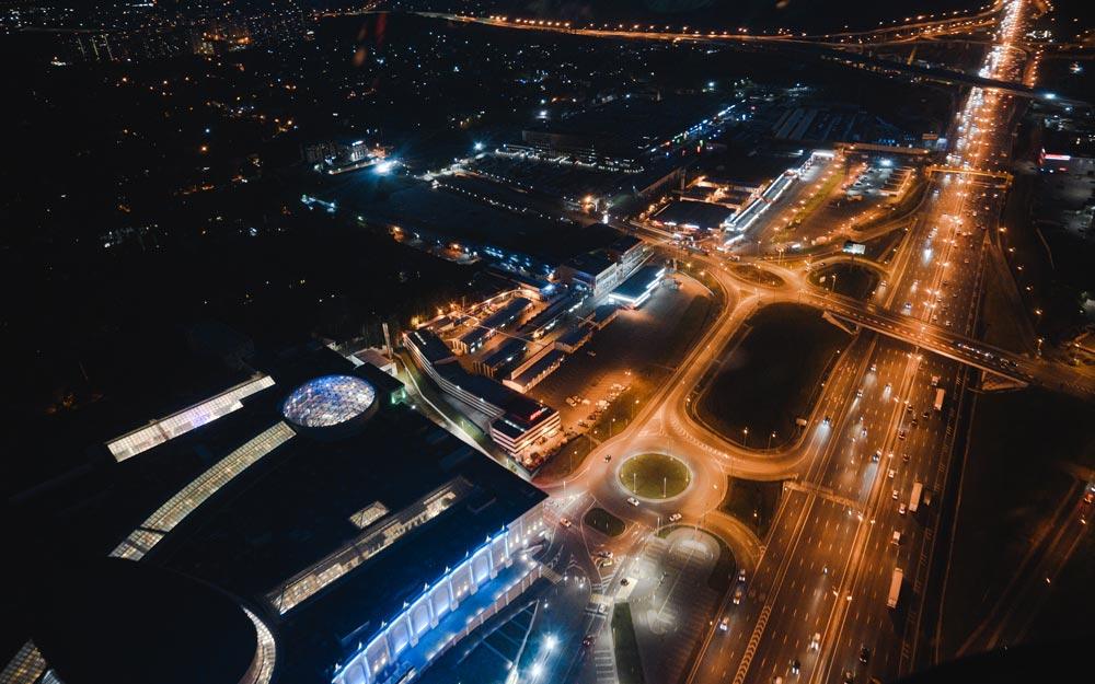 """Ночная Москва с высоты при полете от компании """"Captour"""""""
