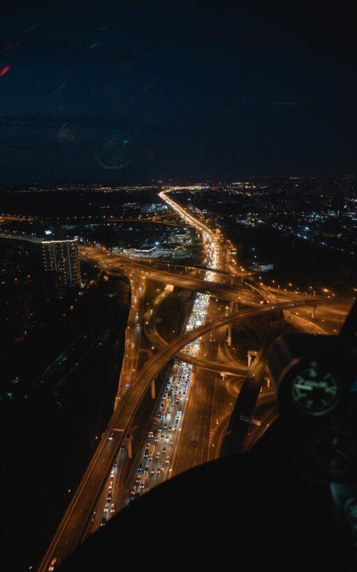 """Фото ночной Москвы из вертолёта в полете от компании """"Captour"""""""