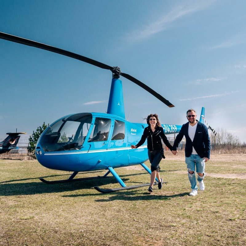 """Фотосессия пары с вертолетом от компании """"Captour"""""""