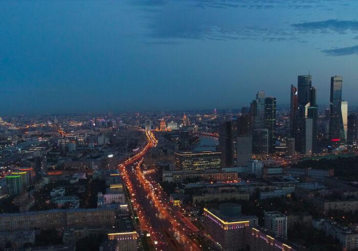 Панорама ночной Москвы с высоты