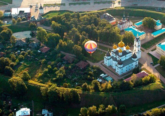 Панорама Дмитрова с высоты из вертолёта