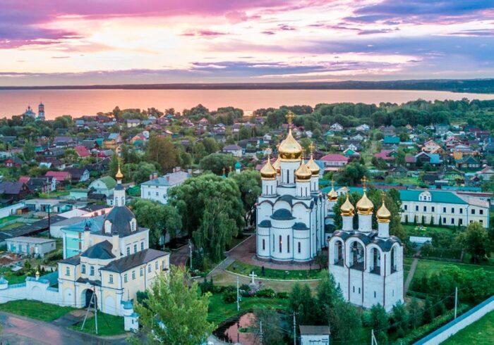 Панорама Переславля Залесского с высоты из вертолета