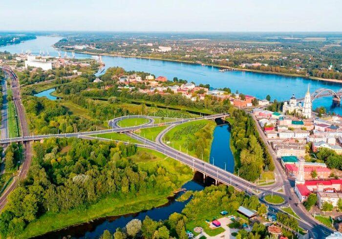Панорама Рыбинска с высоты